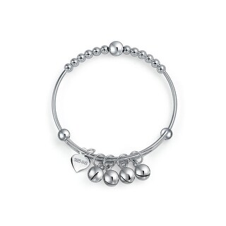 Bling Jewelry Beaded Charm Baby Bangle Bracelet 925 Sterling Silver