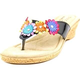 Easy Street Urbino Women WW Open Toe Synthetic Black Thong Sandal