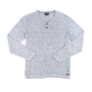 Tasso Elba NEW Blue Marl Men's Size XL Knit Marled Henley Sweater
