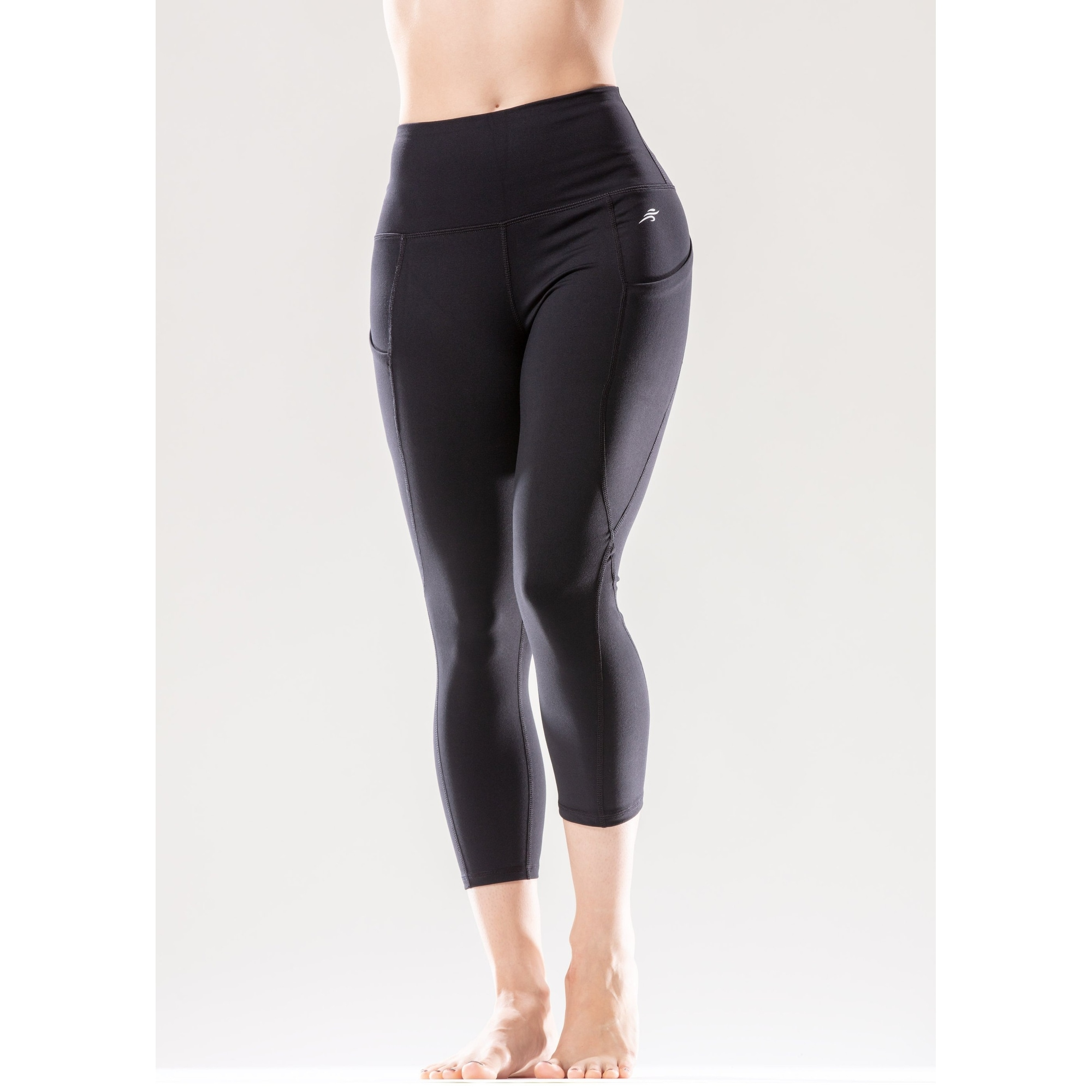 Shop High Waisted Flexible Capri Leggings With Hip Pockets Overstock 27731452