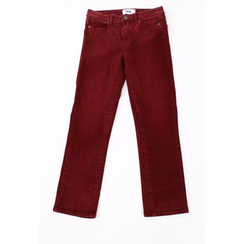 Paige Dark Red Womens Size 28x25 Five Pocket Straight Stretch Jeans