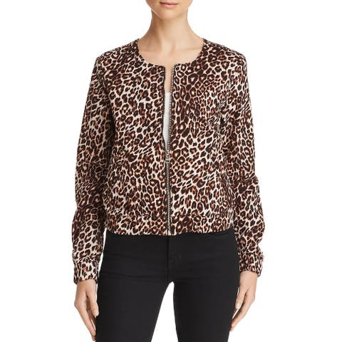 Guess Womens Jacket Animal Print Collarless