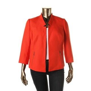 Kasper Womens Plus Textured Zipper Pockets Blazer - 20W