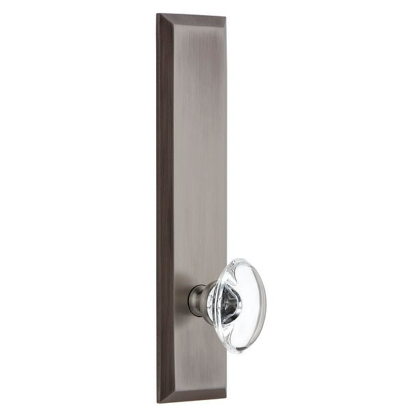 Grandeur FAVPRO_TP_PRV_234_LH Fifth Avenue Solid Brass Tall Plate Left Handed Privacy Door Knob Set with Provence Crystal Knob