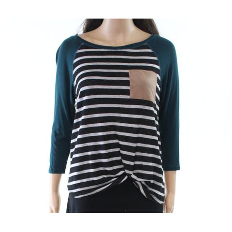 Moa Moa Green Womens Size Medium M Striped Twist-Hem Knit Top