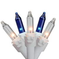 """Set of 35 Blue & Clear Mini Christmas Lights 2.5"""" Spacing - White Wire"""