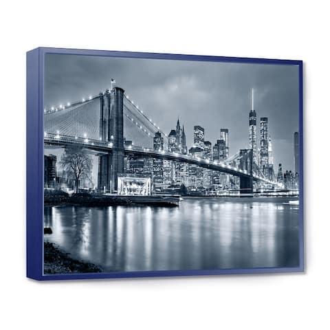 Designart 'Panorama New York City at Night' Cityscape Framed Canvas Print