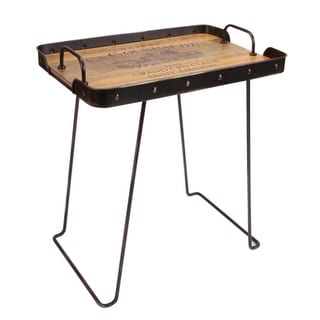 """26"""" Brown and Black Wine Tray Carrier Standing Metal Table"""