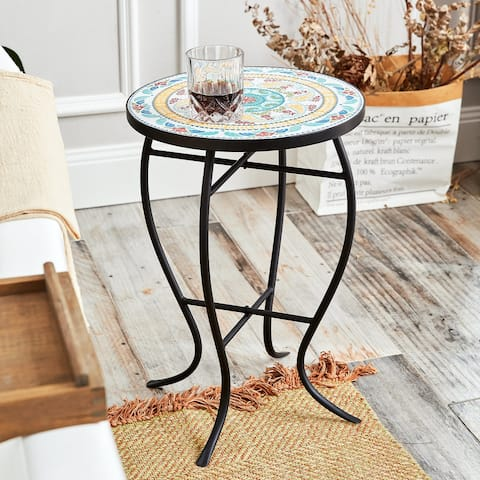 CO-Z Mosaic Top Side Table with Curved Legs and Metal Frame