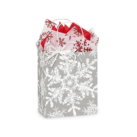 "Pack Of 250, Cub 8.25 X 4.75 X 10.5"" Christmas Snowflakes Silver Paper Shopping Bag Made In Usa"