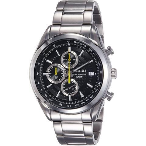 Seiko Men's SSB175 'Chronograph' Chronograph Stainless Steel Watch - Black