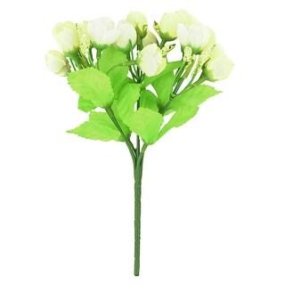 Home Decorating Fibre Beige Rose Bud Emulational Artificial Flower Bouquet