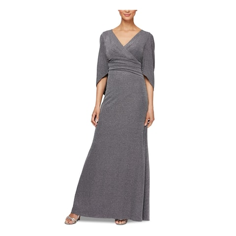 ALEX EVENINGS Silver Long Sleeve Maxi Sheath Dress Size 6