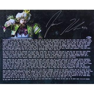 Jason Kelce Signed 16x20 Eagles Parade Speech Transcript Photo BAS