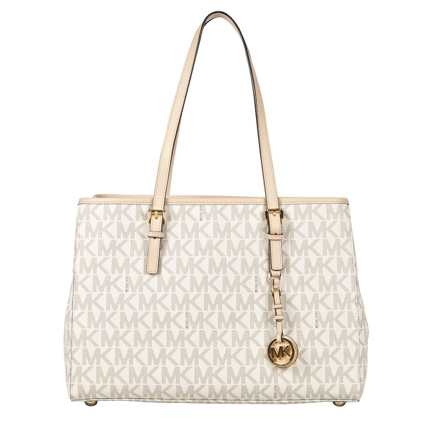 72b1e15ffcafd1 Shop Michael Kors Large Jet Set Signature Travel East West Tote Handbag in  Vanilla - Free Shipping Today - Overstock - 22702753
