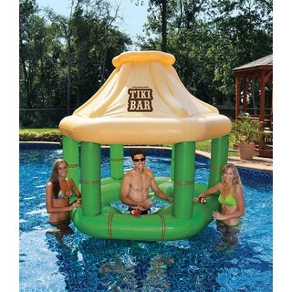 7.5' Inflatable Floating Tropical Tiki Bar for Swimming Pool - Green