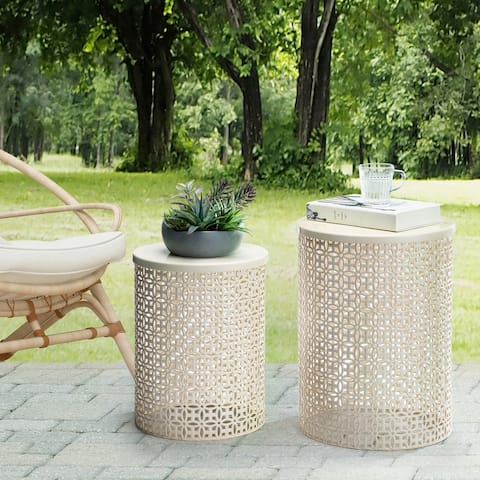 Glitzhome Set of 2 Multi-functional Metal Garden Stool Plant Stand Accent Table