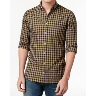 Tommy Hilfiger NEW Yellow Mens Size Medium M Button Down Plaid Shirt