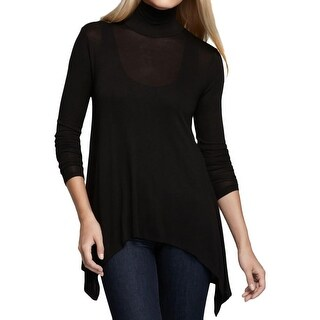 Three Dots Womens Tunic Sweater Asymmetric Long Sleeves