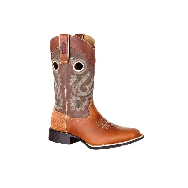 Durango Western Boots Mens Mustang Pull On Leather Brown Tan