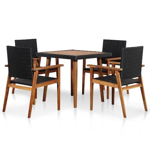vidaXL Outdoor Dining Set 5 Pieces Poly Rattan Black and Brown Furniture Seat