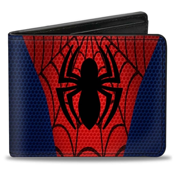 Ultimate Spider Man Spider Man Chest Spider Blues Reds Black Bi Fold Wallet - One Size Fits most