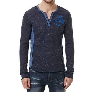 Buffalo David Bitton NEW Navy Blue Men Size 2XL Colorblock Henley Shirt