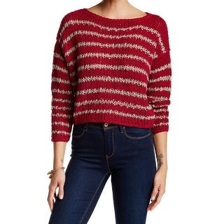 Free People NEW Red Women's Size Medium M Striped Scoop Neck Sweater