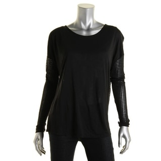 Ramy Brook Womens Sheer Drape Back Pullover Top - S