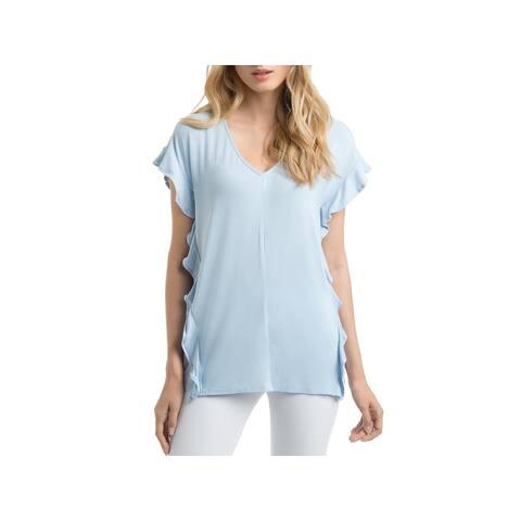 Lysse Womens Sullivan T-Shirt Ruffled V-Neck - Light Blue - XS