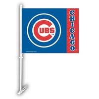 Fremont Die Inc Chicago Cubs Car Flag With Wall Brackett Car Flag With Wall Brackett