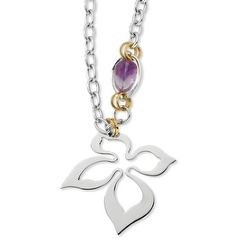Chisel Stainless Steel Gold IP Plated and Amethyst Necklace (64 mm) - 28 in