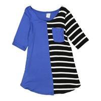 Girls Blue Black White Stripe Cotton Pocket Tunic