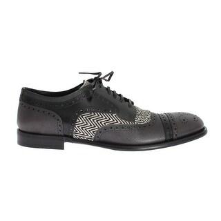 Dolce & Gabbana Gray Blue Leather Pony Oxford Shoes - eu44-us11