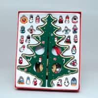 "12.25"" Wooden Christmas Tree with Miniature Ornaments Table Top Decoration - GOLD"