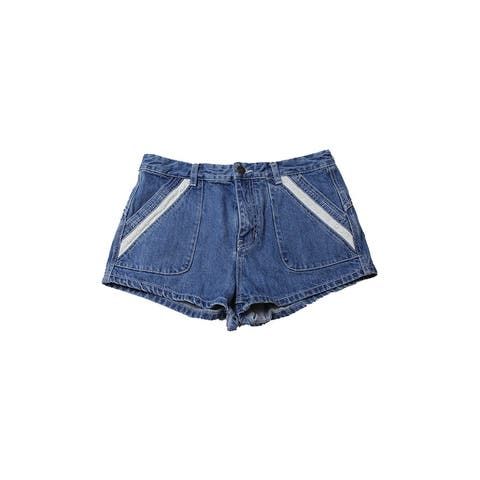 Free People Blue Eyelet-Trim Denim Shorts 29