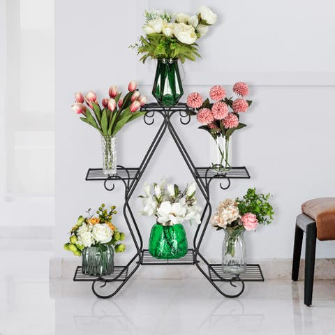 Artisasset a 30.3 Inch Tall,Pentagonal,3 Stories,5 Vertical Striped Potted Plant Racks With Black Paint