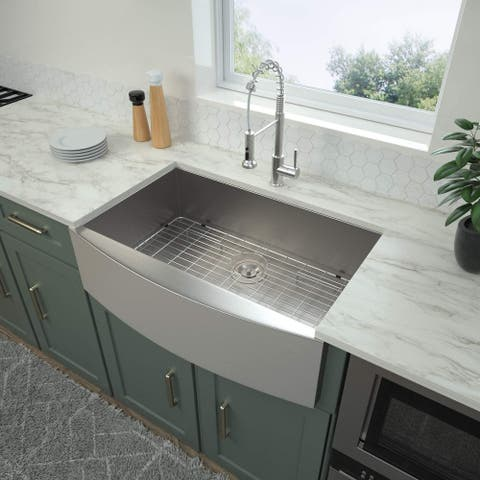 "Proox 33""l X 22""W 18 Gauge Stainless Steel Farmhouse Kitchen Sink"