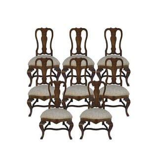 Monte Bianca Side Chair with White Fabric-Set of 8 - Brown