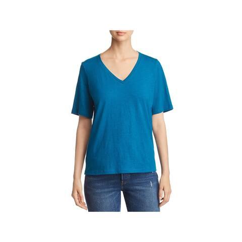 Eileen Fisher Womens Petites T-Shirt Organic Cotton V-Neck