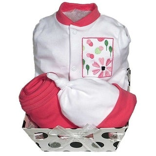 Raindrops Baby Girls Delightful Brights 4-Piece Flower Footie Gift Set, Strawberry 3-6M - 3-6 months