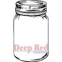 "Mason Jar - Deep Red Cling Stamp 2""X3.75"""