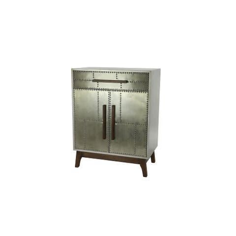 "27"" x 35"" Industrial Silver Metal Cabinet w Wood Handles and Feet - 27 x 16 x 35"