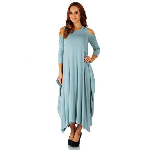 Simply Ravishing Maxi Boho Harem Cold Shoulder 3/4 Sleeve Dress (Size: S-5X)
