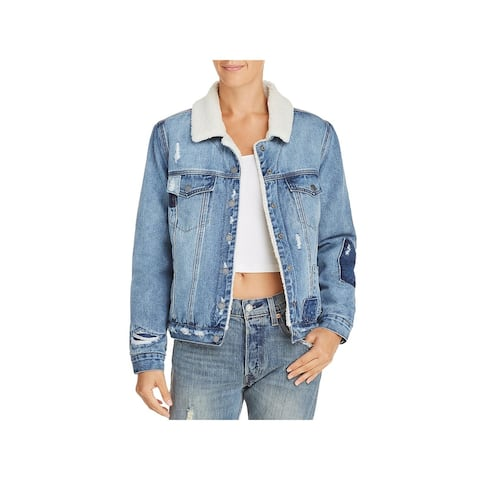 [BLANKNYC] Womens Denim Jacket Distressed Faux-Fur - Ice Road Trucker - M