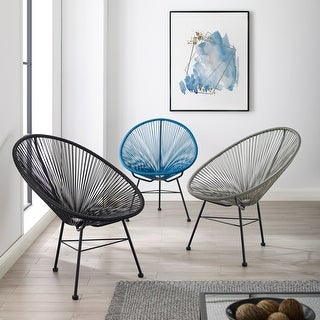 Link to Sarcelles Modern Wicker Indoor/Outdoor Chairs (Set of 2) Similar Items in Outdoor Coffee & Side Tables