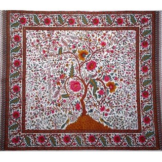Handmade 100% Cotton Tree of Life Tapestry Tablecloth Spread Full 88x104 White