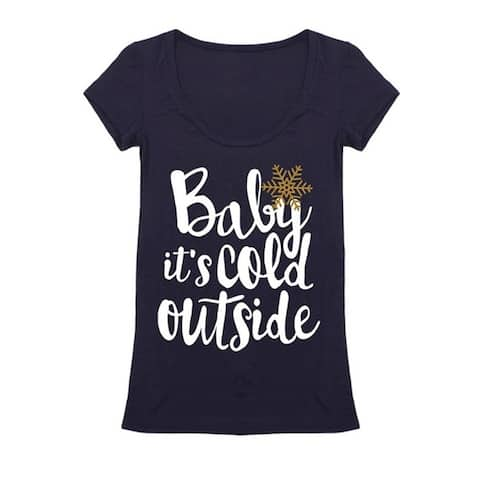 Womens Scoop Neck Baby It's Cold Outside Graphic Holiday Christmas Shirt
