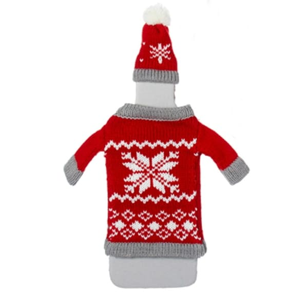 "11"" Alpine Chic Red, White and Gray Snowflake Nordic Design Knit Christmas Wine Bottle Cover"
