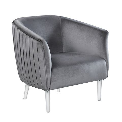 Corvus Riley Curved Back Velvet Barrel Accent Chair